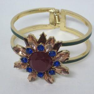 Talbot's Green Green Hinged Cuff Bangle Bracelet
